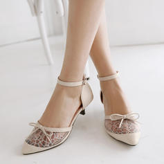 Women's Mesh PU Low Heel Sandals Pumps With Buckle shoes