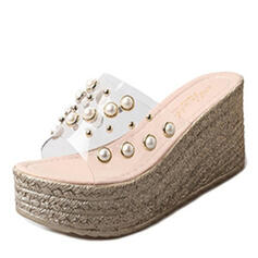 Women's PU Wedge Heel Slippers With Pearl shoes