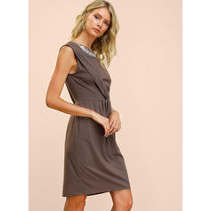 Sequins/Solid Sleeveless A-line Knee Length Casual/Party/Elegant Dresses