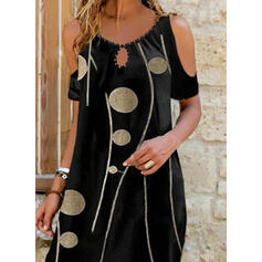 Print/Beaded Short Sleeves Shift Above Knee Casual/Vacation Tunic Dresses