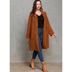 Faux Fur Long Sleeves Plain Wide-Waisted Coats Faux Fur Coats