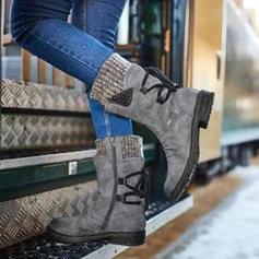 Frauen Veloursleder Niederiger Absatz Stiefel Stiefel-Wadenlang mit Zuschnüren Schuhe