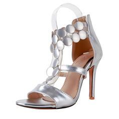 De mujer Piel brillante Tacón stilettos Sandalias Salón Encaje con Cremallera zapatos