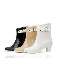 De mujer PVC Tacón ancho Cerrados Botas Botas al tobillo Botas de lluvia con Hebilla zapatos