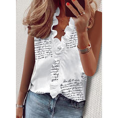 Estampado Decote em V Sem Mangas De Botão Casual Camisetas regata