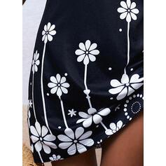 Nadrukowana/Kwiatowy Krótkie rękawy Pokrowiec Nad kolana Casual Sukienki