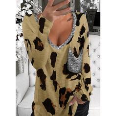 λεοπάρδαλη Πούλιες V-nyak Hosszú ujjú Μπλουζάκια