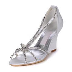 Women's Leatherette Wedge Heel Peep Toe Sandals Wedges With Crystal