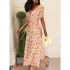 Print/Floral Short Sleeves A-line Wrap/Skater Casual/Boho/Vacation Midi Dresses
