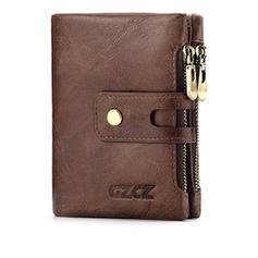 Women Retro Genuine Leather Multi-slots Bifold Small Short Wallets Card Holder Purse
