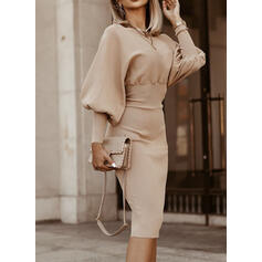 Solid Long Sleeves/Lantern Sleeve Bodycon Knee Length Little Black/Casual/Elegant Dresses