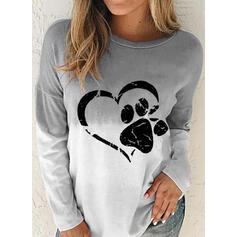 Animal Print Gradient Heart Round Neck Long Sleeves Sweatshirt