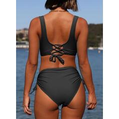 Solide Riem V-hals Elegant Grote maten Bikini's Badpakken