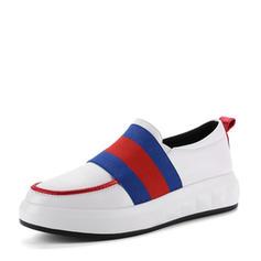 Femmes PU Talon compensé Chaussures plates Bout fermé Compensée chaussures