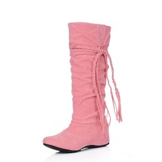 Women's Suede Low Heel Knee High Boots shoes