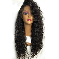 4A Non remy Kinky Straight Human Hair Lace Front Wigs 300g