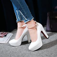 Women's Leatherette Stiletto Heel Closed Toe Pumps With Rhinestone