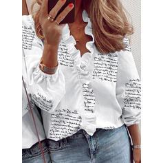Stampa Scollatura a V Maniche lunghe Casuale Camicie