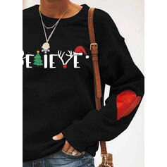 Print Figure Heart Round Neck Long Sleeves Christmas Sweatshirt