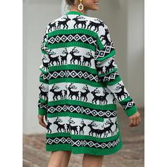 Polyester Long Sleeves Print Pocket Chunky knit