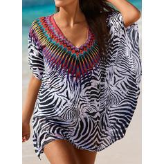 Tryck V-ringning Vacker Strandklänningar Badkläder