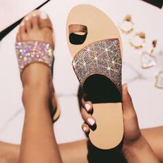 Femmes Similicuir Talon plat Sandales Chaussons avec Pailletes scintillantes chaussures