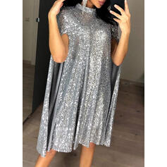 Sequins Long Sleeves Shift Knee Length Party/Elegant Dresses