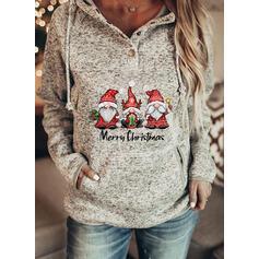 Print Figur Lommer Lange ærmer Jule sweatshirt
