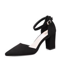 Naisten Mokkanahka Chunky heel Sandaalit Avokkaat Suljettu toe jossa Solki kengät