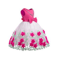 Girls Round Neck Floral Lace Sequined Bow Cute Party Flower Girl Dress
