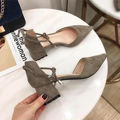 Femmes Suède Talon bottier Escarpins Bout fermé avec Dentelle chaussures