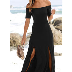 Solid Short Sleeves A-line Skater Little Black/Casual/Vacation Maxi Dresses