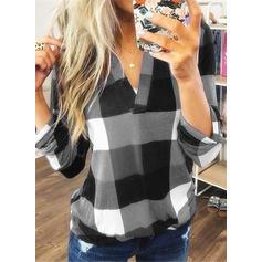 Цветной блок V шеи Длинные рукова Повседневная Рубашка Блузки