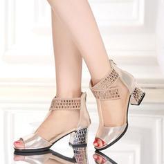 Femmes Similicuir Tissu Bottes Bottes de Danse avec Strass Chaussures de danse