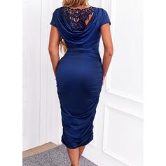Solid Lace Short Sleeves Bodycon Pencil Elegant Midi Dresses