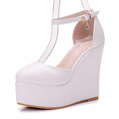 Women's Leatherette Wedge Heel Closed Toe Wedges
