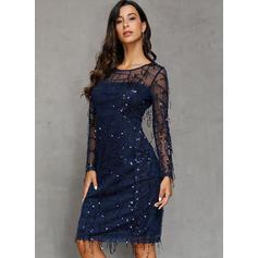 Solid Long Sleeves Sheath Knee Length Party/Elegant Dresses