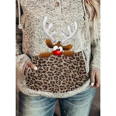 Print Leopard Lommer Lange ærmer Jule sweatshirt