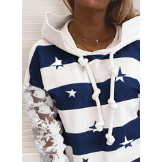 Print Lace Long Sleeves Hoodie