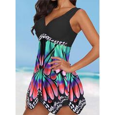 Spleiß Farbe Tropischer Druck Rüschen Träger V-Ausschnitt Übergröße Bunt Ins Auge Fallend Lässige Kleidung Badekleider Bademode