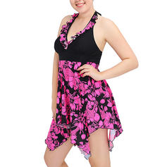 Tropical Print Halter Sexy Plus Size Swimdresses Swimsuits