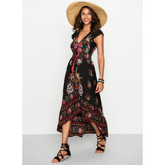 Print/Floral Short Sleeves A-line Boho/Vacation Maxi Dresses