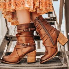 Vrouwen PU Chunky Heel Pumps Closed Toe Laarzen Half-Kuit Laarzen met Gesp Rits schoenen