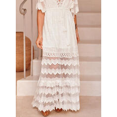 Solid Lace 1/2 Sleeves Flare Sleeve A-line Skater Casual Maxi Dresses