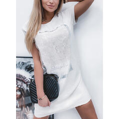 Lace/Print/Letter Short Sleeves Shift Above Knee Casual T-shirt Dresses