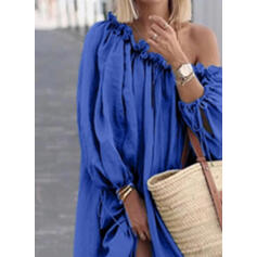 Solid Long Sleeves Shift Casual/Vacation Maxi Dresses