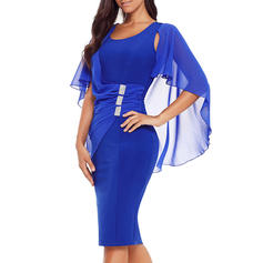 Solid Split Sleeve Bodycon Knee Length Party/Elegant Dresses
