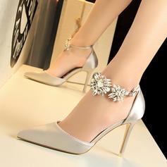 Frauen PU Stöckel Absatz Absatzschuhe mit Kristall Schnalle Schuhe