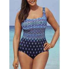 Dot U-Neck Sexy Plus Size One-piece Swimsuits