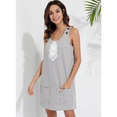 Print Sleeveless Shift Above Knee Casual/Vacation Tank Dresses